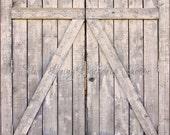 SALE 7'x7' Matte Vinyl Photography Backdrop Grey BARN DOORS Photo Prop