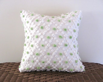 Green polka dots pillow cover LIME POPS green cushion cover 14 X 14 graphic pillow cottage chic nautical pillow
