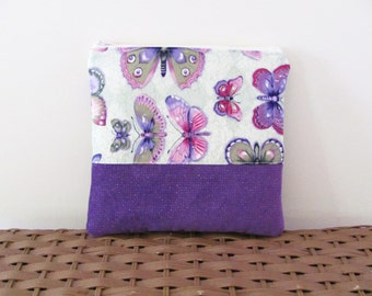 Butterfly cosmetic pouch, purple zippered makeup bag, butterfly storage pouch, purple toiletries bag, lavender zippered pouch, travel case