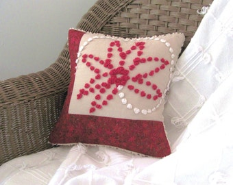 red pillow cover CHRISTMAS POINSETTIA  vintage chenille 12 X 12 cottage chic Christmas cushion cover
