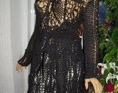 MADE TO ORDER handmade black silk outfit of top and skirt embroidered with Swarovski  crystals   by goldenyarn