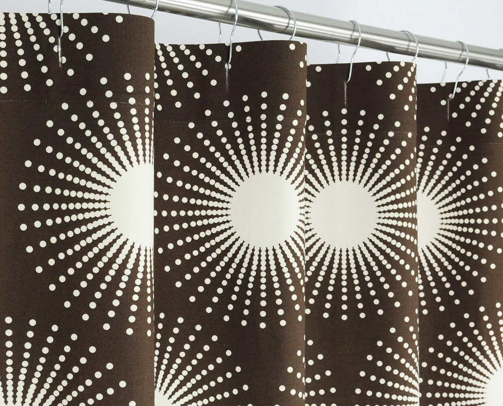 78 LONG Brown Starburst Shower Curtain 72 x 78 LONG by PondLilly