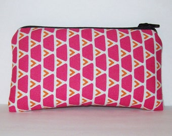 "Pipe Pouch, Pipe Case, Pipe Bag, Padded Pouch, Geometric Pouch, Pink & Orange Bag, Small Pouch, Girly Pouch, Stoner Gift, Pouch - 5.5"" SMALL"