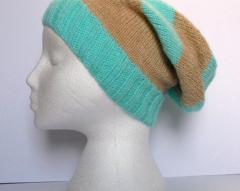 Aspen and beige striped hand knitted super slouchy beanie hat. Adult or teenager. Unisex