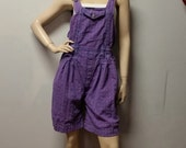 Shortalls Overalls  Hand Dyed  Purple  - Shorts Romper Playsuit Size Small
