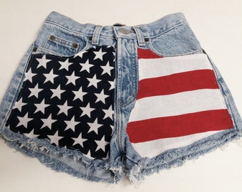 "Waist 25"" ---Ready to Ship----Vintage  high waisted  Denim Shorts - American Flag Style"