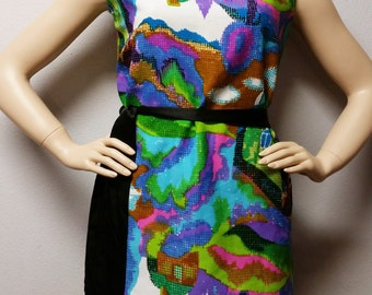 Vintage 60's Colorful  MOD Sleeveless Top Sz Large