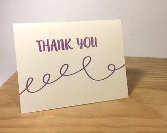 Thank You Purple Swirls  Letterpress Card