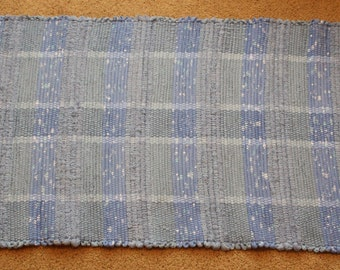 Handwoven Rag Rug - Multi-Striped Baby Blue - 44 inches....(#88)