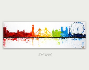Original London painting Abstract modern art  Colorful Cityscape