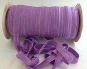 "Purple FOE #462 Light Hyachith Purple Fold Over Elastic Shiny Solid FOE- 5 or 10 yards 5/8"" inch Headbands Hair Ties Satin Elastic"