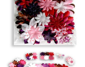fabric flowers - Daisy Value Pack 50 pieces - I Love You - Polka Dot Daisies 1275-702 - pink red white pink mix
