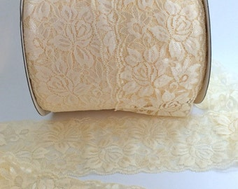 """Ivory Cream Lace Elastic 3.5""""  Wide Lace Stretch Elastic  trim You Pick colors baby headband lace elastic garter lingerie 3, 5, OR 10 yards"""