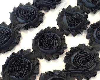 "Dark Grey Charcoal Shabby Rose Trim 2.5"" Shabby Flowers Shabby Chiffon Flowers Solid Shabby Chic Trim Wholesale Rosette trim 6cm yard #114"