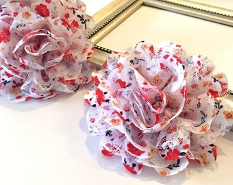 """Large 4"""" Chiffon Lace Flowers - 2 pcs Red Yellow Black Flower printed fabric flowers Shabby Chic Frayed Satin mesh Lace hair brooch headband"""