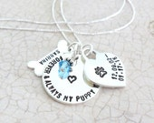 Pet Memorial Jewelry |  Pet Remembrance Jewelry | Dog Jewelry |  Pet Loss Jewelry | Forever and Always My Puppy You'll Be |  Sterling Silver