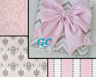 Custom Fabric Decor Plaque with Bow or Letter Plaques - 17 Prints - Personalized Name, Initial, or Monogram for Baby Nursery, Girls Bedroom