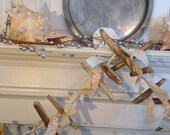 driftwood garland, fabric garland, beach wood, Over 8' long, eco friendly, Natural, brown and white, shabby chic