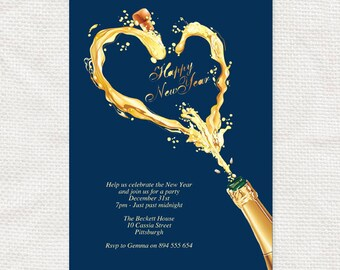 new years eve party invitation champagne splash - printable file instant download editable PDF blue and gold celebration drink alcohol