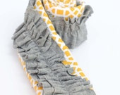 CYBER MONDAY Camera Strap Cover {Trendy Yellow with Gray Ruffles} Padded with Lens Pocket