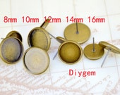 10Pairs 20pcs Ear Stud Trays Antique Bronze Ear Tray Fit 8mm/10mm /12mm/14mm/16mm Circle Cabochon smooth Pad Ear Base Set Fitting Ear Stud