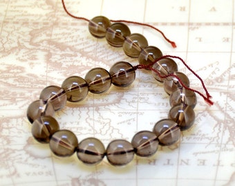 Loose 11mm Natural Round smoky Crystal Quartz  Half One Strand 8""