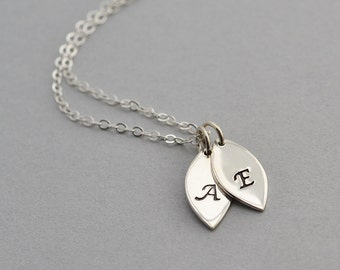 Personalized Necklace, Sterling Silver Petal Necklace, Initial Necklace, Mothers jewelry, Mothers Necklace,Leaf Necklace,