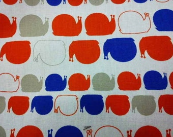 Snails in blue gray and orange, white, fat quarter, pure cotton fabric