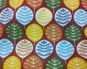 Big leaves, very dark orange, fat quarter, pure cotton fabric