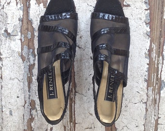 J. Renee Black Mesh Peep Toe Slingback Shiny heels // Faux skin Mules // Stripes/Geometric Pattern/Chunky heels/Summer Slingbacks- size 8