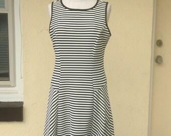 Black and White Striped Panel Dress/Tank Dress/Rockabilly Dress/Nautical dress/Sleeveless Summer Dress/Stretch Dress/Knee Length - M