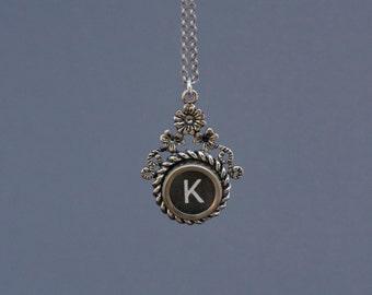 "Typewriter Key Necklace -Typewriter Key Jewelry- Vintage Black Letter ""K""-Typewriter Key Accessory-Typewriter Letter K Pendant-Glass Top"