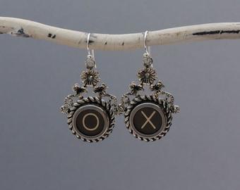 "Typewrriter Key Jewelry-Typewriter Key Earrings - Vintage Black Letters ""X O""-Typewriter Key Accessories-Dangle Typewriter Key Earrings"