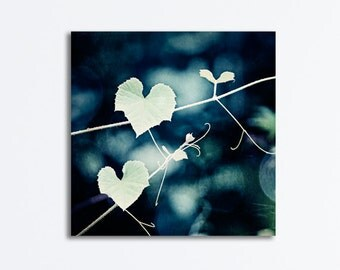 "Heart Canvas Photography - love dark navy green leaves leaf print canvas gallery wrap nature photo botanical decor, ""For the Love of Nature"""