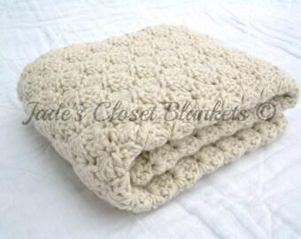 Crochet Baby Blanket, Baby Blanket, Crochet Off White Baby Blanket, Oatmeal, Neutral, crib size
