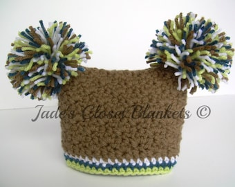 Crochet Baby Boy Hat with Pom Poms, Chocolate Brown with Cape Cod Blue, White, and Soft Fern Green, 0 to 18 months