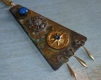 Moon and Stars Patina Rust Brass  Fantasy Necklace Handmade OOAK