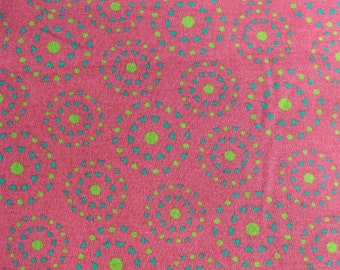 Pink with Blue & Green circles! Knit fabric by the yard