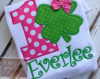 Baby Girl First Birthday shirt or bodysuit -- Wee Bit O' Fun to Be 1 -- Shamrock hot pink and green design