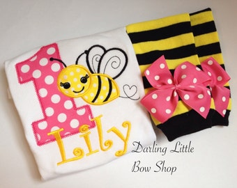 Baby Girl First Birthday Outfit -- Sweet As Can BEE -- bodysuit and leg warmers in pink, yellow and black bumblebee theme