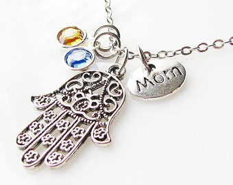 Mothers Day gift for mom, mother necklace, mom birthday gift, birthstone, gift for mom, family necklace, mommy jewelry, hamsa necklace