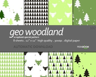 Trees Digital Paper, Green Woodland Backgrounds, Geometric, Green Forest Digital Paper, Green Backgrounds, Green trees, Green paper, Kids