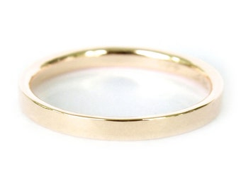 2mm 18K Band- 18K Solid Gold Ring- Flat Edge Wedding Band
