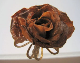 Real Rose Stick Pin Vintage Gold Tone Lapel Pin Miniature Rose