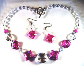 Pink Crystal Necklace and Matching Earrings