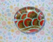 Clear glass round shape magnet handmade floral paper red green peacock feather 1 1/2 inch cute gift favors fridge