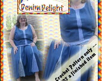 PDF Crochet Pattern Denim Delight Skirt and Top