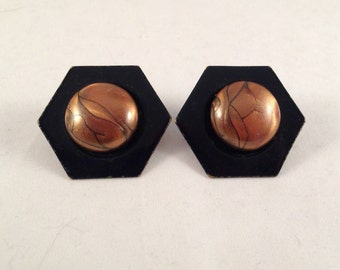 Vintage Brown and Black Button Post Earrings 1 and 3/8 Inches Wide and Long Previously Fifteen Dollars ON SALE