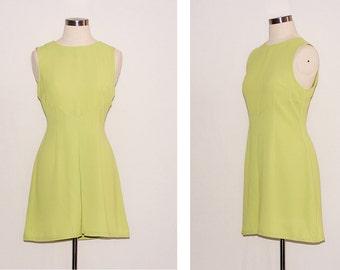 Vintage Neon Green Shift Dress