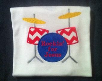 """Cute Little Boys """"Rockin' for Jesus"""" Drum Set Applique Shirt. Size4/5"""